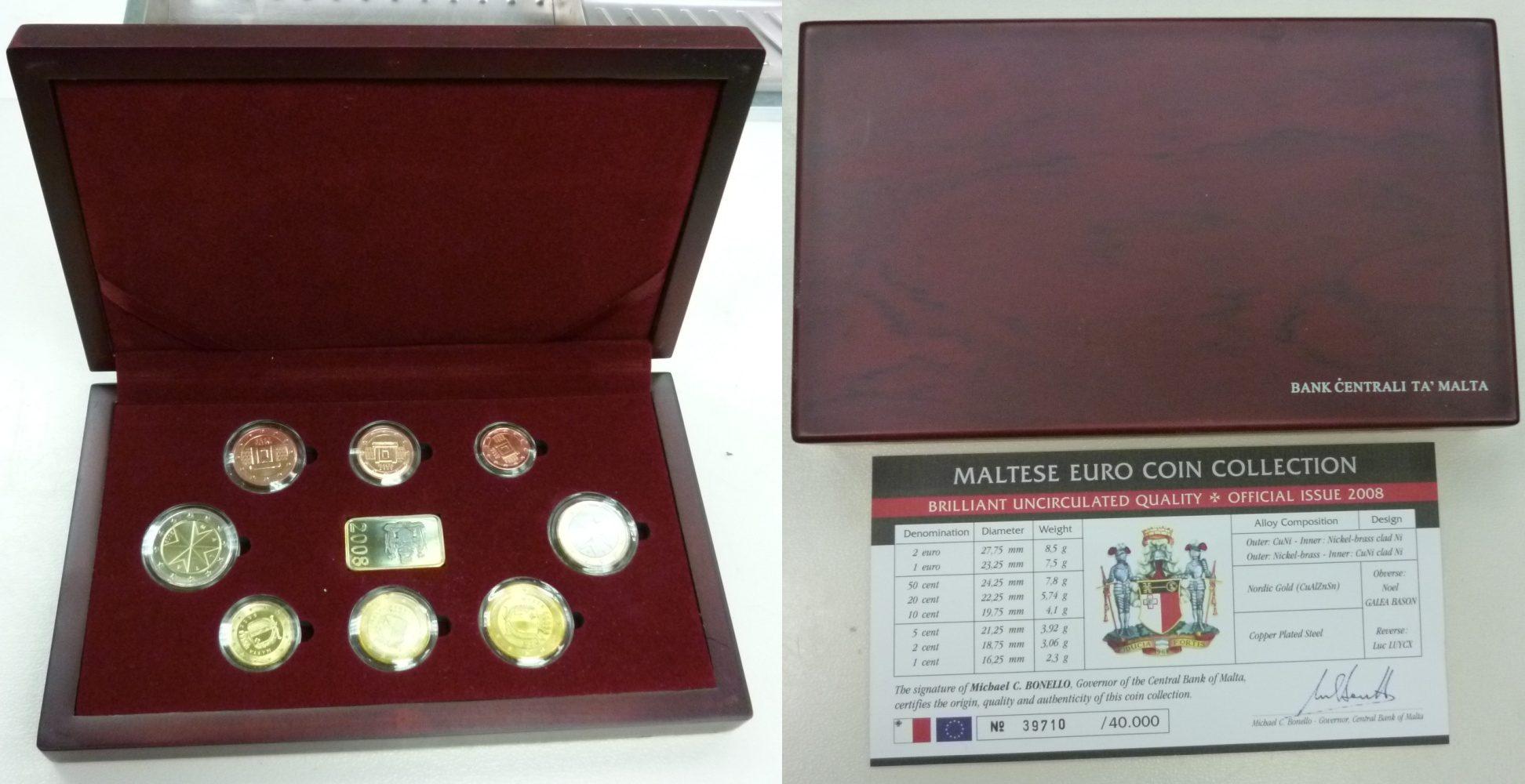 euro kursm nzensatz offizieller satz 2008 malta malta euro kms 2008 1 cent 2 euro in original. Black Bedroom Furniture Sets. Home Design Ideas