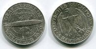Weimarer Republik Deutsches Reich 5 Mark Silbermünze Silver Coin Zeppelin Weltflug LZ 127 1929,  Silber