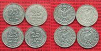 4 x 25 Pfennig  1909-1911 Kaiserreich Kleinmünze nach Jäger Kaiserreich... 46.25 £ 55,00 EUR  +  7.15 £ shipping