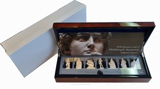 7x 10 Dollar 2014 Niue Islands 450th Anniversary Death of Michelangelo Buonarroti Sculptures Collection. Proof in Original Box with Case and COA