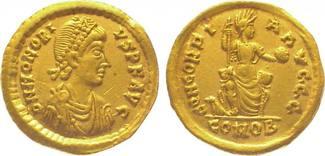 Kaiserzeit Gold  395-423 n. Chr. Kl. Graffito auf