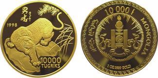 Mongolei 10000 Tugrik Gold 1998 Polierte Platte