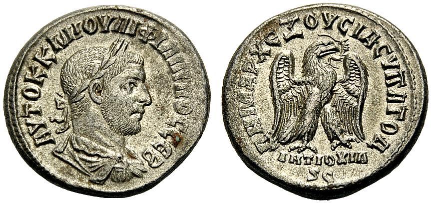 Tetradrachmon, Billon 244-249 GRIECHISCHE MÜNZEN UNTER RÖMISCHER HERRSCHAFT ANTIOCHIA AM ORONTES, SYRIEN: PHILIPPUS I. ARABS EF