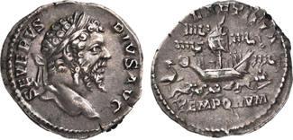 Roman Empire. AR Denarius AD 206. Extremely Fine S