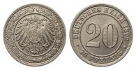 20 Pfennig 1892 G Kaiserreich  min. Randfehler, fast Stempelglanz  341.94 £ 395,00 EUR free shipping