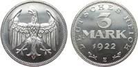 3 Mark ohne Umschrift 1922 E Weimarer Republik  polierte Platte  483.51 £ 575,00 EUR free shipping