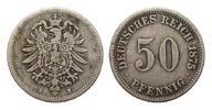 50 Pfennig 1875 H Kaiserreich  fast sehr schön  248.06 £ 295,00 EUR free shipping