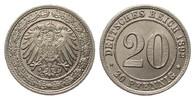 20 Pfennig 1892 G Kaiserreich  min. Randfehler, fast Stempelglanz  332.15 £ 395,00 EUR free shipping