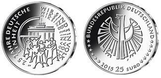 25 Euro  5x 2015 A/D/F/G/J  Deutschland 25 J. Dt. Einheit,   kompl. Satz  (5 Prägestätten) lieferbar ! stgl