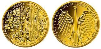 100 Euro  15,55g  fein  28 mm Ø 2016  Deutschland Altstadt Regensburg,UNESCO Welterbe,Prägestätte unserer Wahl,lieferbar! stgl